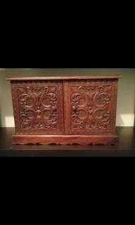 Vintage Hand-Carved Wooden Jewelry and Trinkets Mini-Drawer