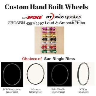 BZcycle Professional Custom Hand Built Wheels for 26er/27.5er/29er with loud&Smooth CHOSEN hubs