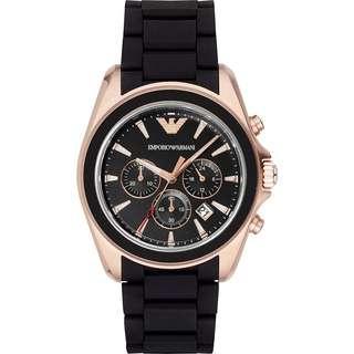 🚚 Emporio Armani Classic 雅爵計時錶-黑x玫瑰金框/44mm