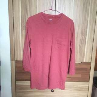 Uniqlo橘紅七分袖上衣
