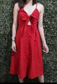 BNWT Red Tie Front Dress