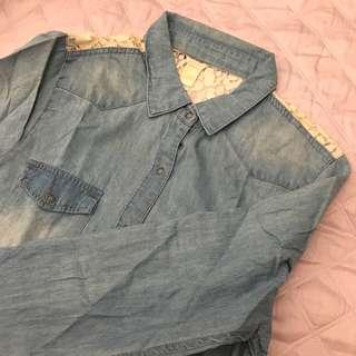 Forever 21 Denim Lace Outerwear Shirt