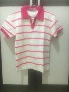 Atasan kerah/Kaos berkerah pink