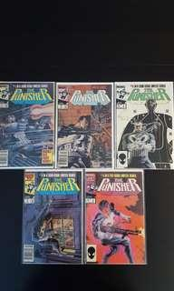 Punisher #1,#2,#3,#4,#5 Mini-Series (1986 1st Series) Complete Set of 5- 1ST Ever Punisher Appearance! Epic 1st Miniseries! Superb Bronze-Age Collectibles,Bar-none!