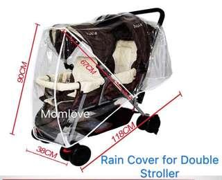 Ready Stock ! Rain Cover for Double Stroller (2 types)