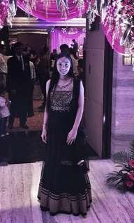 Indian Black Gold Dress Gown Costume Anarkali For Rent