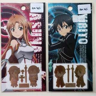 SAO Kirito and Asuna metal phone stickers