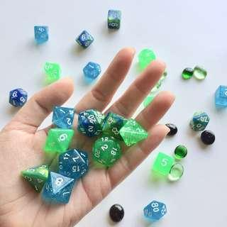 🚚 Seafoam Ocean Mermaid Sparkle Polyhedral Dice - Dungeons & Dragons