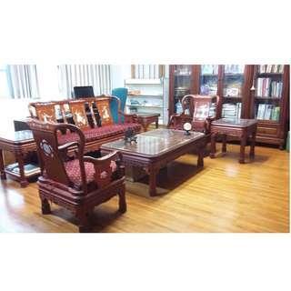 古董 紅木 紅木沙發 木沙發 木椅 茶几 客廳椅 10件組