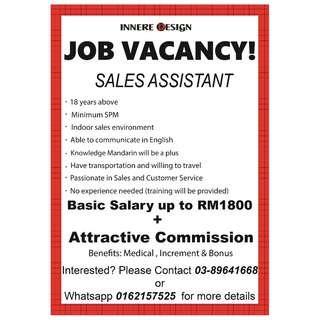 Urgent!! Sales Assistant (Amerin Mall & Ekocheras Mall)