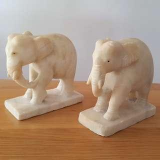A pair of beautiful carved marble Elephant.