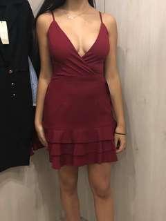 Pilgrim burgundy frill dress AU SIZE 8