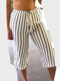 White & Blue Striped Sailor Pants