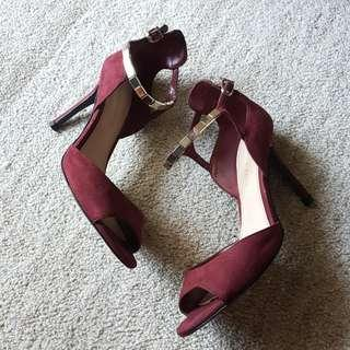 Strappy Heels in Marsala w/ Gold Ankle Straps