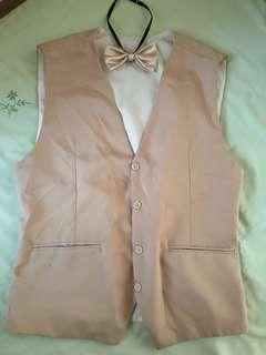 Champagne gold Vest with tie