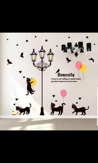 ✔INSTOCK Cat creative personality simple wall stickers room bedroom bedside wall stickers dormitory decoration wallpaper stickers self-adhesive