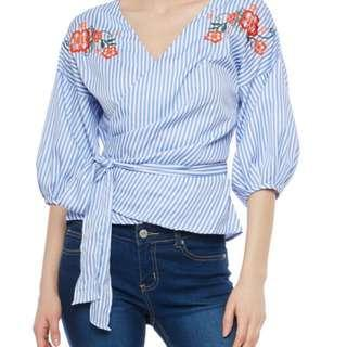 Embroidered Striped Wrap Top