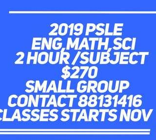 PSLE 2019 Eng Math Science