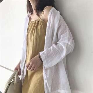 🚚 全新透氣棉麻襯衫|杏色