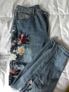 Top Shop, vintage style, floral embroidered 'mom' jeans