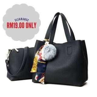 🔻Price Down🔻Beg 2 in 1 Handbag Perempuan Free Pouch (Black)