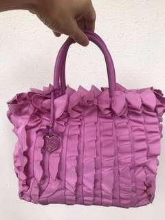 00cc9b2455c6 PRADA Tessuto Ruffled Leather Pink Tote Bag
