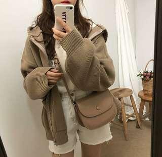 【實拍】韓國簡約慵懶針織連帽外套
