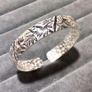 🚚 Bamboo silver bangle, 999.9 Silver, Adjustable, Free size