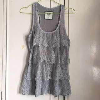 Abercrombie and Fitch Grey Lace Top