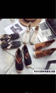 🚚 轉草編綁帶編織涼鞋 樂福鞋 39