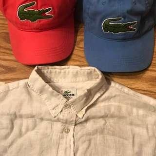 Lacoste pink and light blue authentic big gator caps