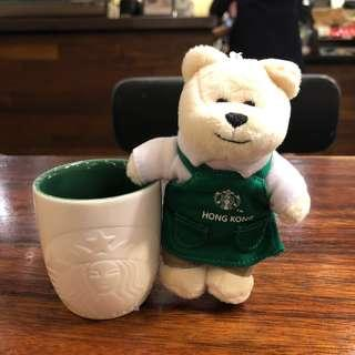 Starbucks Hong Kong Bearista Bear Keychain with 3oz Coffee Cup