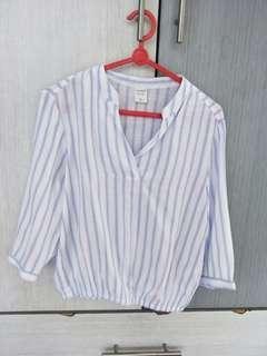 🚚 Yishion V Neck Blue White Striped Blouse Top