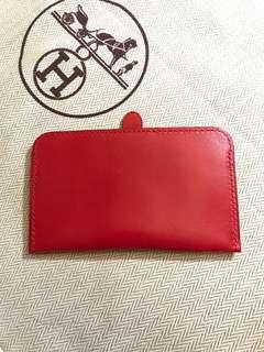 $950 {Friend-D series 系列} [💯%Authentic & 100%New 正品全新]  HERMES Red Leather Card Holder /愛馬仕 紅色卡片套