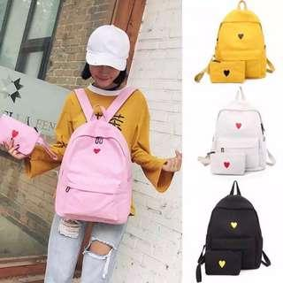 (PO) Korean Heart Canvas Backpack