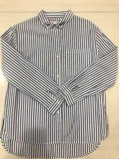 Zara girls blue white stripe shirt