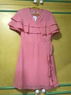 Salmon pink ruffles dress
