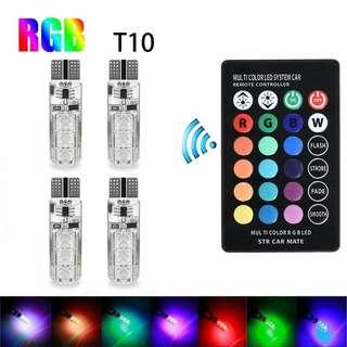 4Pcs T10 Colourful LED Bulbs with Remote