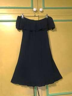 Navy blue cotton on off shoulder dress