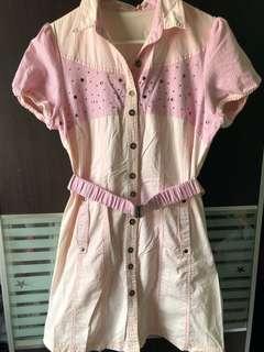 Pink button up dress
