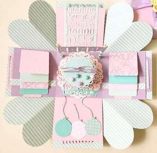 Happy 26 birthday pastel Explosion Box card