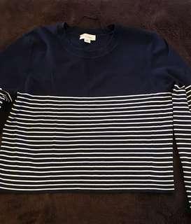 Witchery Navy Striped Crop Sweater Size M