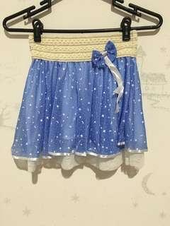 Cute Blue Skirt with Ribbon