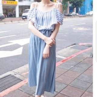 女神細肩帶縮腰綁帶長洋裝全新可換物