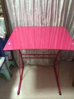 """全新 24x19"""" 桃紅色 玻璃餐桌 兒童桌子 table"""