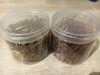 Gold and rose gold paper clips
