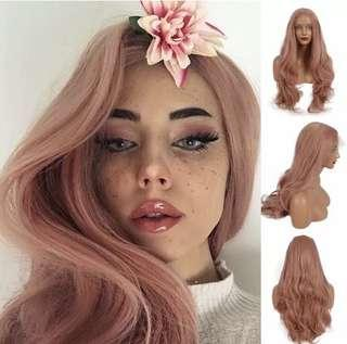 "BNWT pink rose gold 24"" long wave synthetic wig"