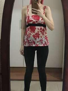 Red and white asian top small