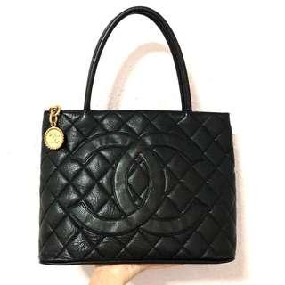 Authentic Chanel Caviar Medallion Kelly Tote with 24k Gold Hardware