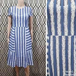 Lace Dress Blue and White Stripes